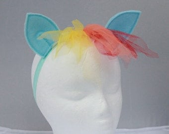 Rainbow dash my little pony headband, ears and mane - brony headband - my little pony accessories - rainbow dash headband rainbow pony hair