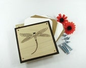 Flower Press - Wood Pyrography - Dragonfly Plant Press