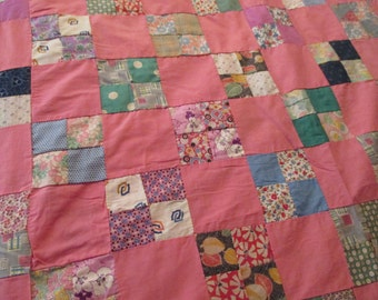 Vintage four patch patchwork quilt top hand pieced  rose pink