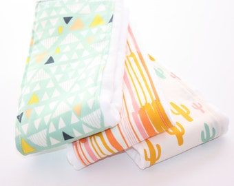 NEW - Baby Burp Cloths - Set of 3 - Morning Walk Collection - Triangles, Watermarks, and Cacti Field