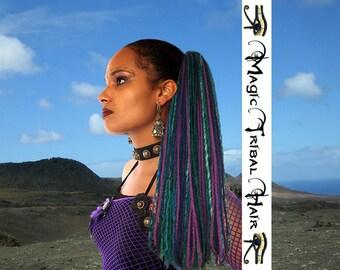 MERMAID Purple Paradise DREAD FALLS dreadlock Fantasy yarn hair piece 112 dreads 24''/ 60 cm long Tribal Fusion Belly Dance Burning Man garb
