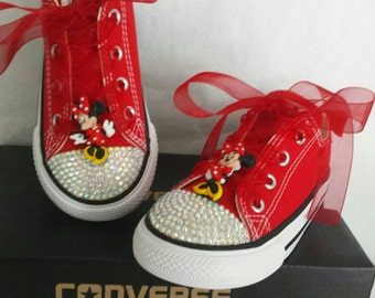 Girls Red Converse, Minnie Mouse, Blinged Out With AB crystals, Red Ribbon Laces, Sequin Bows, Many Sizes, Rhinestones guaranteed to stay on