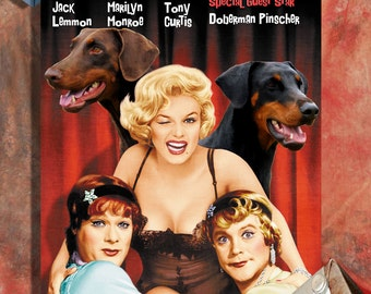 Doberman Pinscher Fine Art Poster Canvas Print - Some Like It Hot Movie Poster by Nobility Dogs