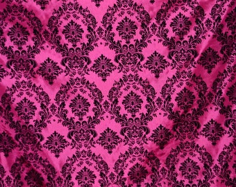 Damask taffeta velvet flocked fuchsia dress home decor apparel curtains by the yard