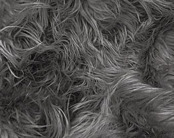 Fur Faux Fur Mongolian Charcoal 60 Inch Wide Fabric By the Yard
