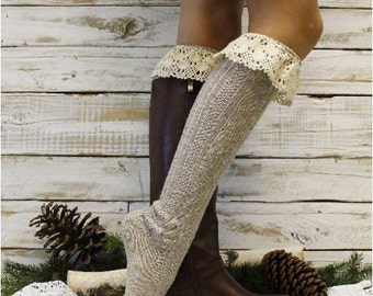 Mountain lace boot sock in OATMEAL Tweed knit,  Boot socks tall boot socks leg warmers,  knee socks womens lace socks  | BKS6