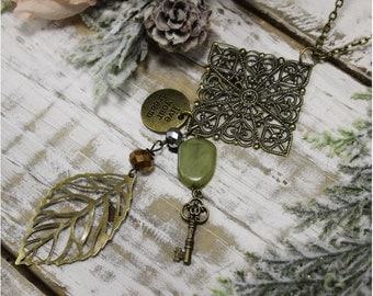 Pendant necklace, lace, charm,  long, handmade, boho, lace, upcycled, unique, vintage, lacey, hippie, bohemian, jewelry | Key to Life  | PN2