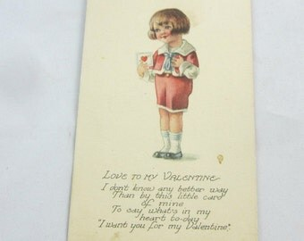 Vintage Valentine Postcard 1910 Boy in Red Shorts with Buster Brown Haircut Antique Valentine Old Valentine Postcard