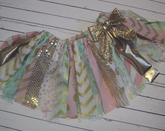 Pink Mint Gold Fabric Tutu Rag Tutu Skirt, Shabby Chic, 1st BIRTHDAY, Photo Prop, Cake Smash, Party Scrappy Tutu