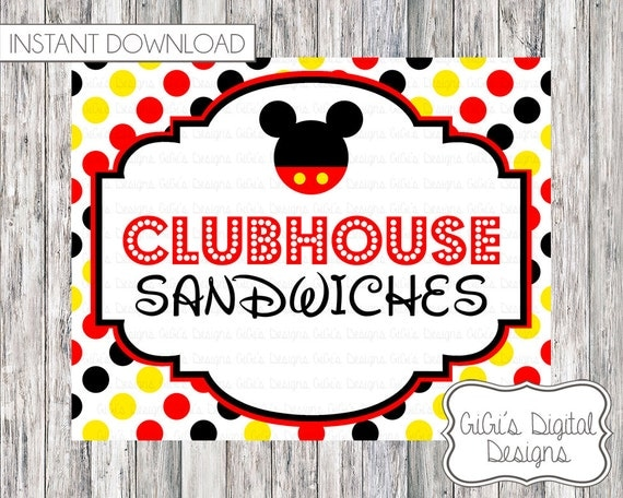 Mickey Mouse Birthday Party Clubhouse Sandwiches Sign Disney