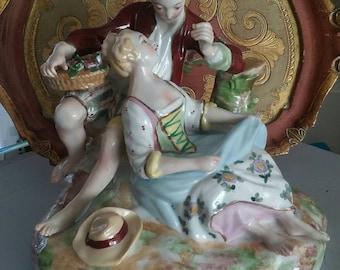 French Lovers Porcelain Figurine