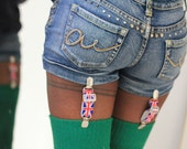 Thigh high - KNITTED wool socks - Better than leg warmers - extra long - 110cm leg -FOREST GREEN- vintage pattern- merino/wool blend