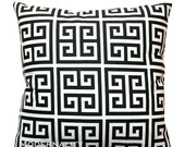 SALE Greek Key Pillows- Premier Prints Black White Towers Pillow Cover- 18x18 or Choose Size- Zippered Pillow- Black Cushion Cover- Case