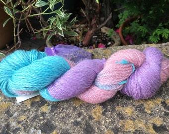"""100grms hand painted alpaca/silk/linen yarn DK weight """" garden flowers """""""