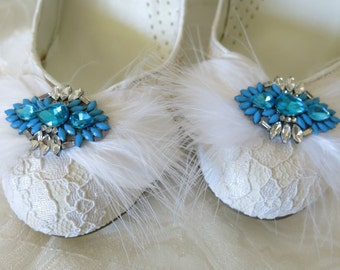 Shoe Clips, Wedding Shoe Clips, Bridal Shoe Clips, Rhinestone Shoe Clips, Feather Shoe Clips, Something Blue