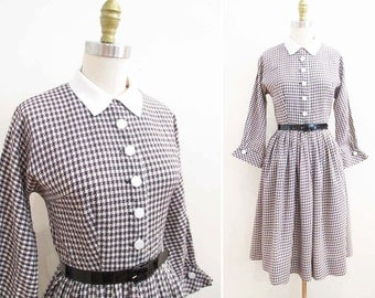 Vintage 1950s Dress | Black and White Houndstooth 1950s Day Dress | size small