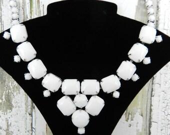 Vintage Milk Glass Rhinestone Necklace ~ Signed GALE Silver Tone Finish Bride Jewelry