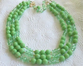 Vintage  Mint Green Three Strand Beaded Necklace - Made in Hong Kong