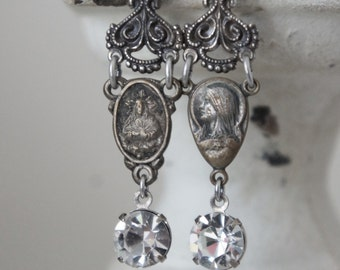 Vintage assemblage earrings vintage rosary centers vintage clear rhinestones vintage assemblage jewelry F230- by French Feather Designs.