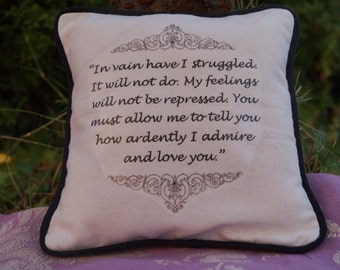 Miniature Jane Austen Inspired Pillow. Pride and Prejudice Quote. Cotton Decorative Pillow