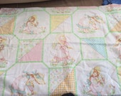Vintage Holly Hobbie Pillow Case - Holly hobbie Dolls - Girls Room - Nursery - Fabric   Pastels - Quilting - Pink Blue Yellow