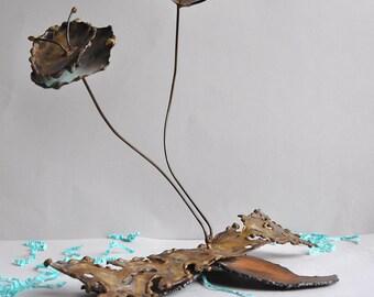SALE 30% OFF! Brutalist Kinetic Vibrating Abstract Flower Sculpture - Curtis Jere Manner