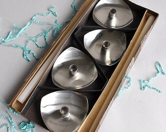 SALE 30% OFF! Danish Stelton Stainless Steel Candleholders with Box