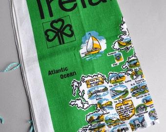 SALE! Ireland Map - Ulster Irish Linen Tea Towel - Tags