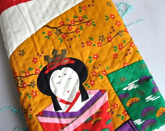 SALE 40% OFF! Japanese Furoshiki Ouilted Wall Hanging