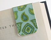 Bookmark Laminated Magnetic Paisley Green Blue Glitter Teacher College Student Ready To Ship Gift