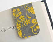 Bookmark Magnetic Laminated Yellow Floral Gray Lace Dainty Design Ready To Ship