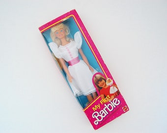 My First Barbie, Vintage 80's White Dress Barbie Fashion, 1984 Mattel Barbie Doll in Box
