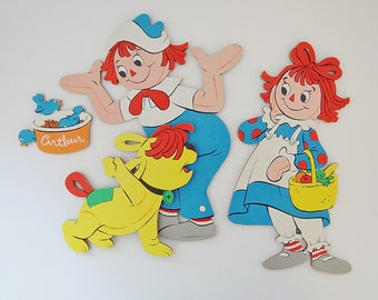 Vintage Raggedy Ann, Andy and Dog Arthur wall hanging, Nursery decorations, Kid's room decor, 1980 Bobbs Merrill Co.