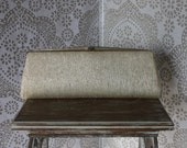 Vintage 1950's 60's Gold Clutch Purse With Metallic Threading