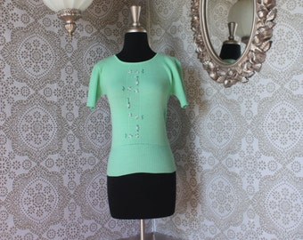 Vintage 1960's 70's Jade Green Pullover Sweater XS Small