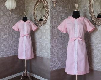 Vintage 1960's Baby Pink Swiss Dot Dress M/L