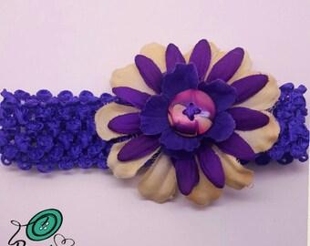 Infant Headband Purple, Marbled Flower Crochet Elastic Newborn/Infant Headband