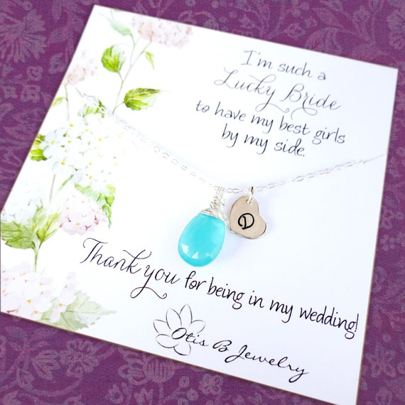 Bridal jewelry gift Set of 6: personalized Bridesmaid necklaces, bridesmaid thank you cards, sterling silver bridesmaid jewelry