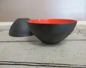 Small Krenit Denmark Red Enamel Bowl Danish Modern Decor Red and Black Mid Century 1960s Enamelware Modern Design Atomic