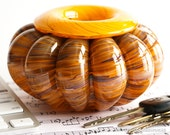 Hand Blown Glass Bowl - Bulging Ribs with Earth Tone Streaks