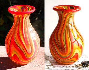 Hand Blown Glass Vase - Fall Color Swirls