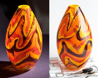 Hand Blown Art Glass Teardrop Vase - Groovy Hot Color Swirls