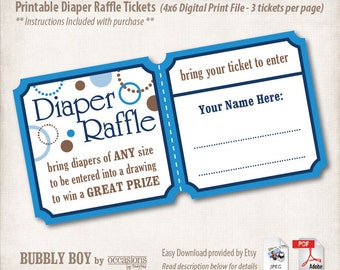 INSTANT DOWNLOAD, Printable Baby Shower Diaper Raffle Tickets, 4x6, Digital File, Bubbly Boy, Baby Boy