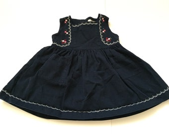 Navy Blue Dress With Embroidered Flowers