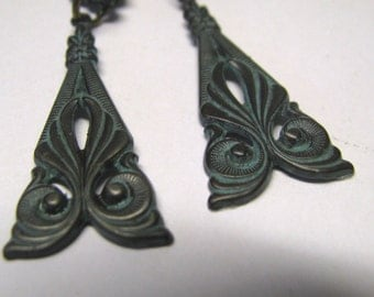 Victorian Art Deco Art Nouveau Ornate Triangle Patina Dangle Pierced Earrings