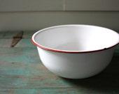 Red and White Enamelware, Vintage Enamel Bowl, Primitive Bowl