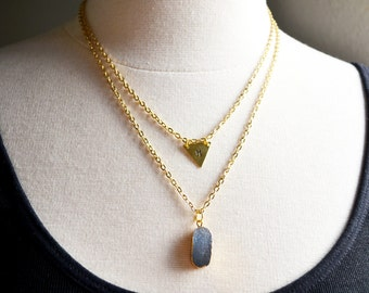 Smoky Gray Crystal and Initial Necklace