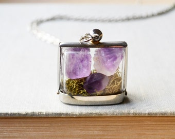 Raw Amethyst Crystal and Moss Terrarium Necklace