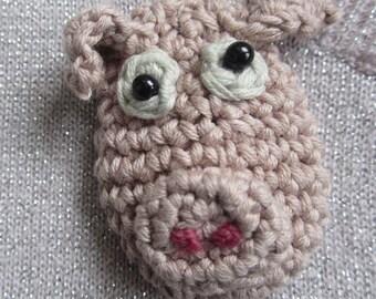 Grumpy Pig Crocheted Brooch