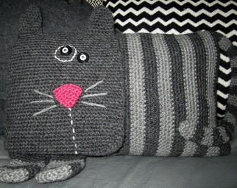 Crochet Pattern for Stripey Cat Cushion